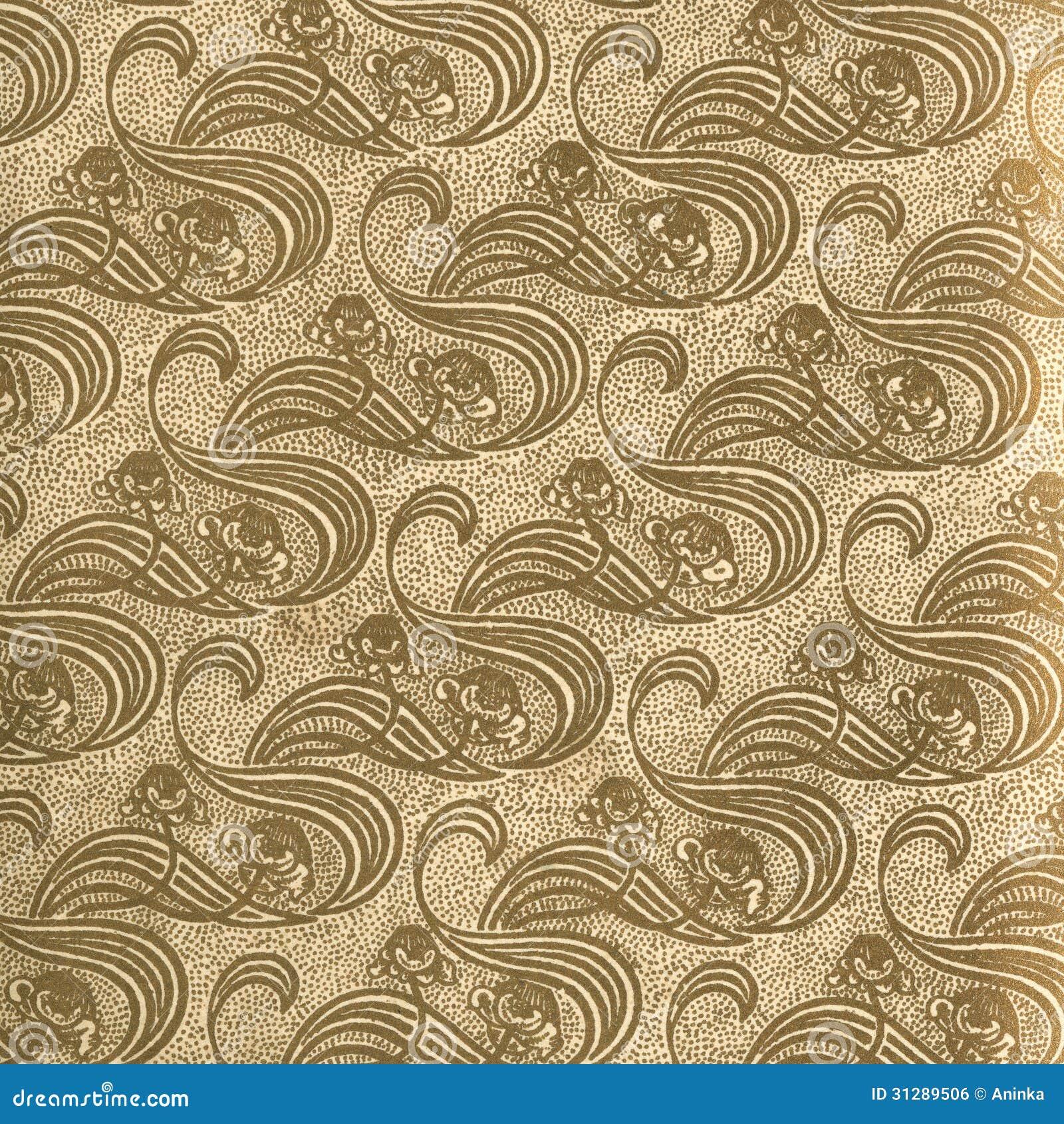 Vintage Wallpaper Gold Stock Photo Image Of Flor Curl