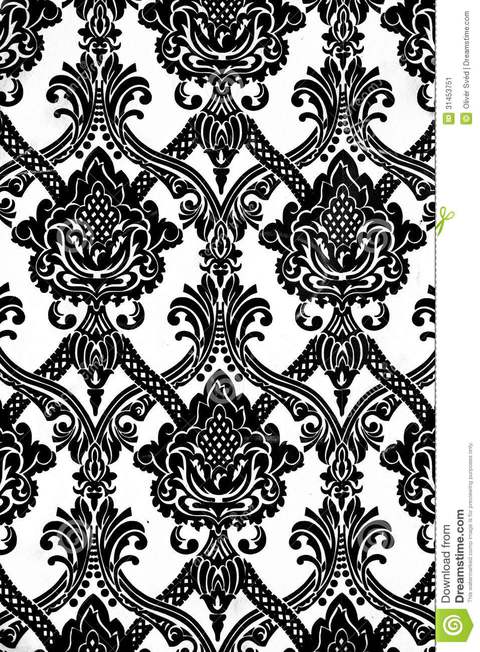 Vintage wallpaper pattern background in black and white