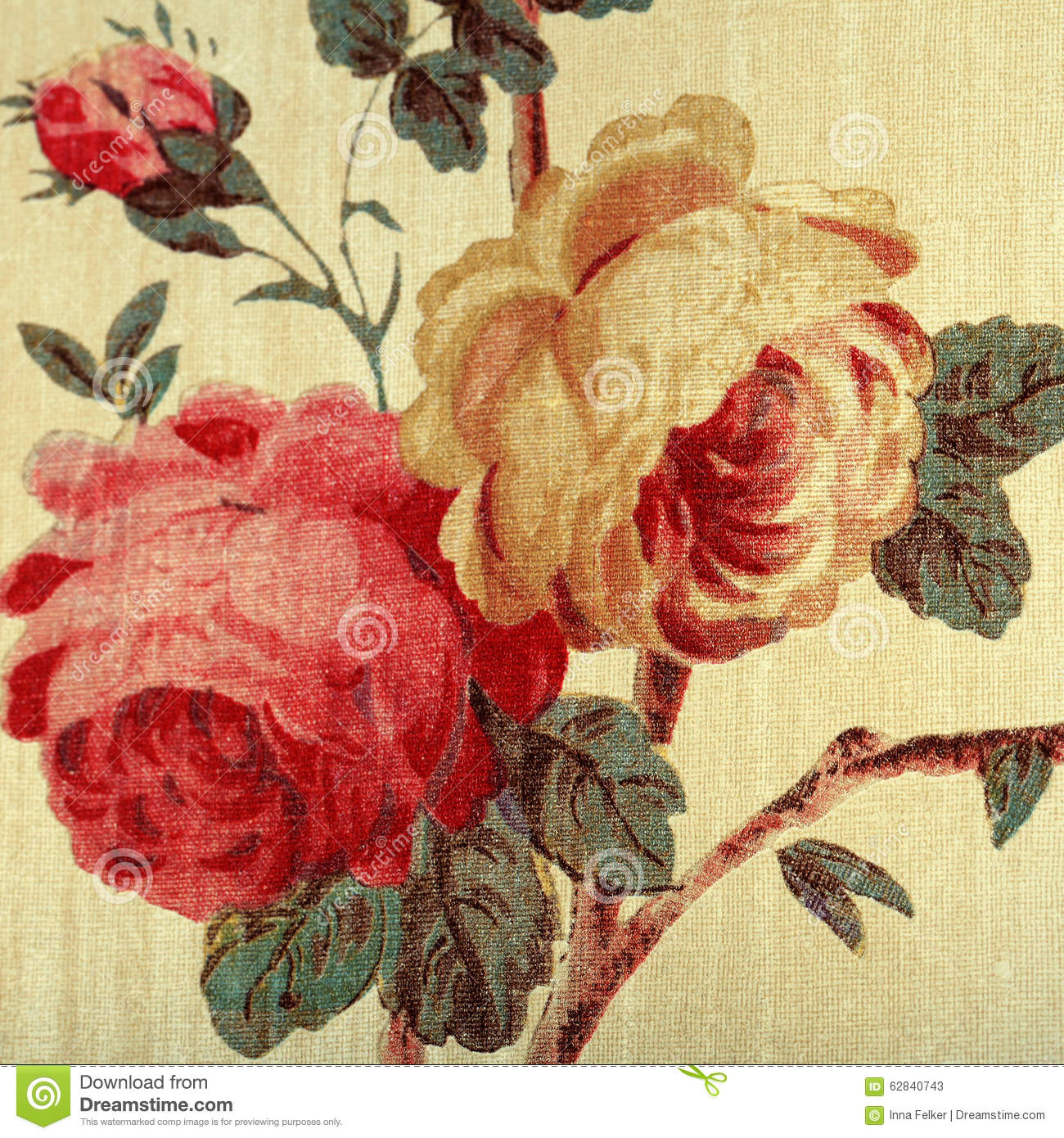 Vintage Wallpaper With Red Rose Floral Victorian Pattern Stock