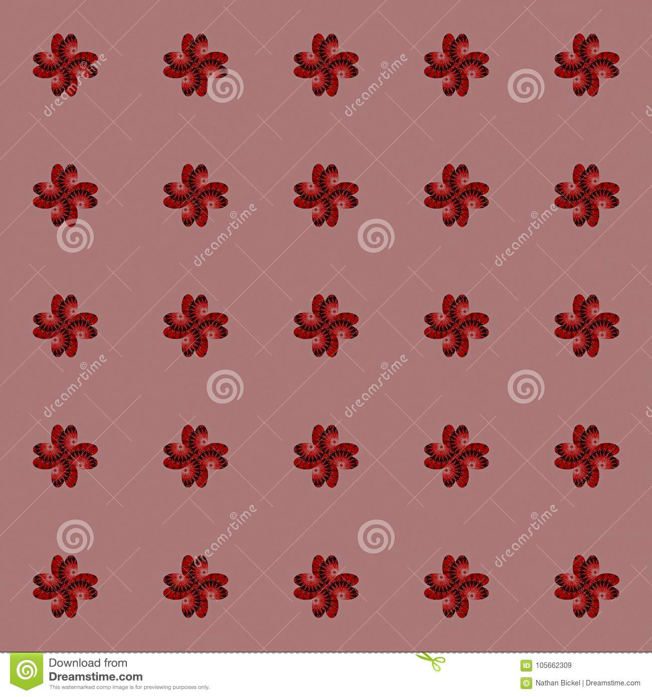 Vintage Wallpaper With Repeating Floral Design On Light