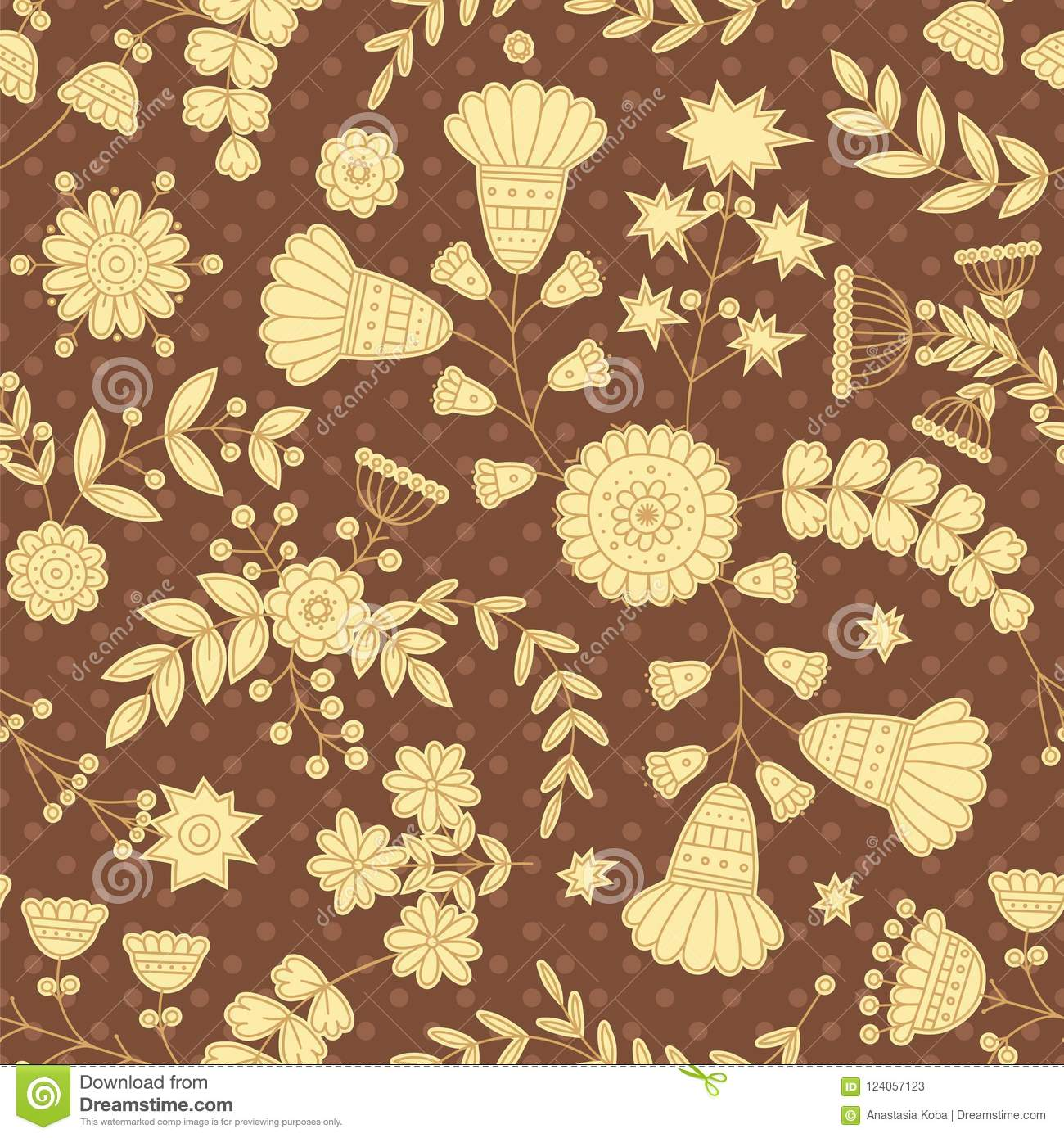 Vintage Wallpaper Retro Pattern Floral Background Vector