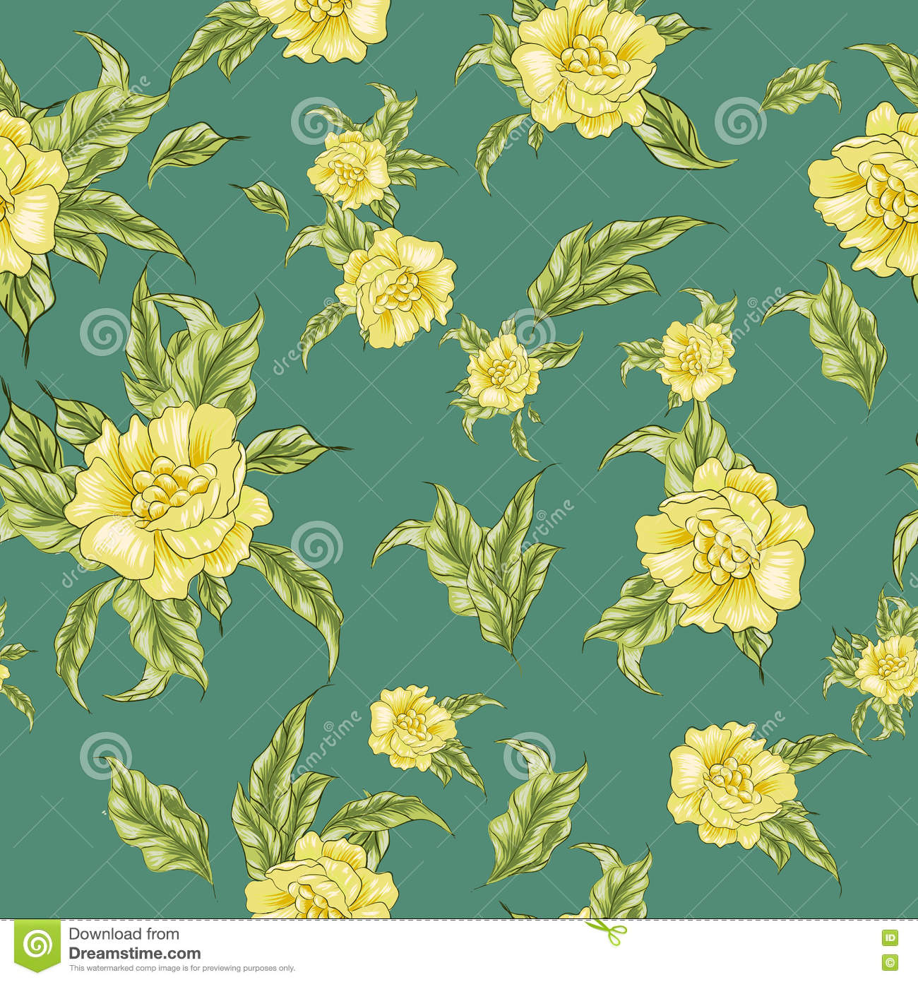 Wallpaper Of Yellow Rose: Vintage Wallpaper Seamless Pattern With Yellow Roses On