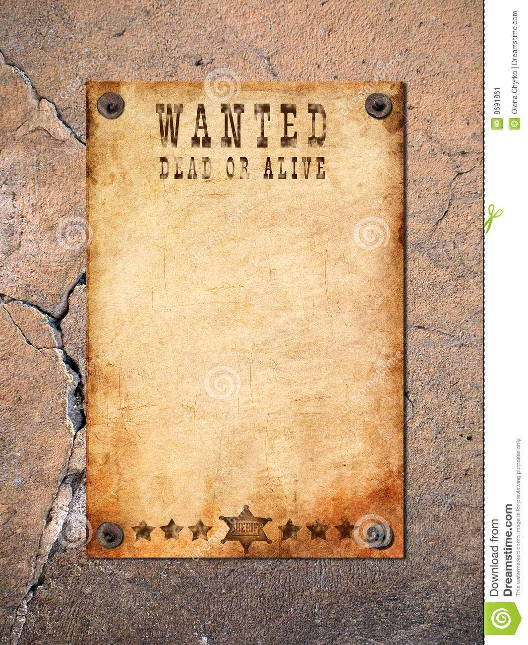Vintage Wanted Poster Stock Image Image Of Pushpin Criminal 8691861