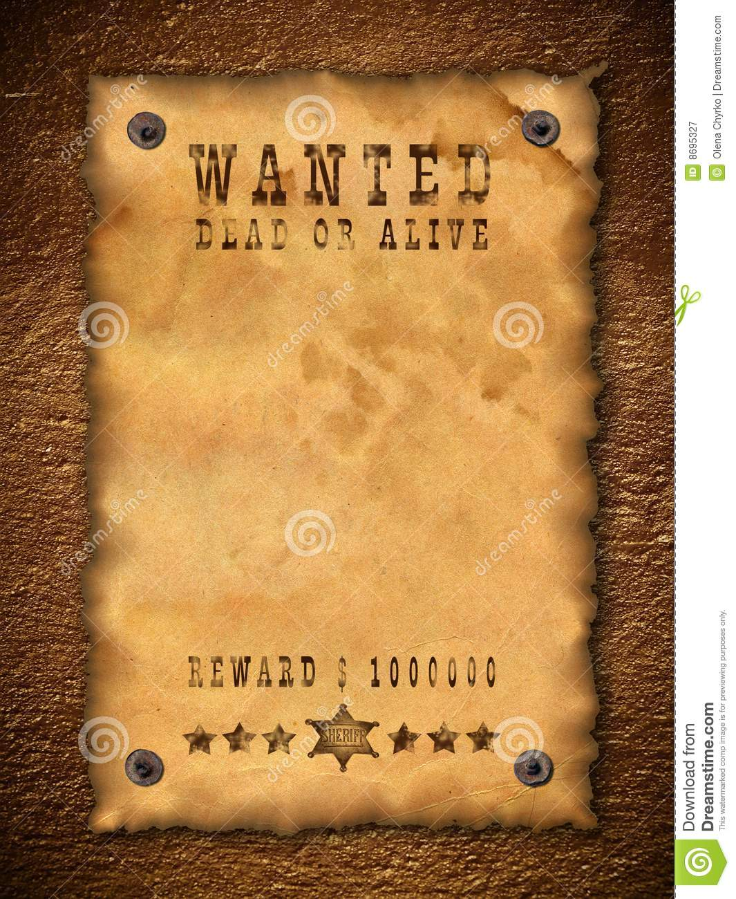 Vintage wanted poster stock image image of background for Wanted dead or alive poster template free