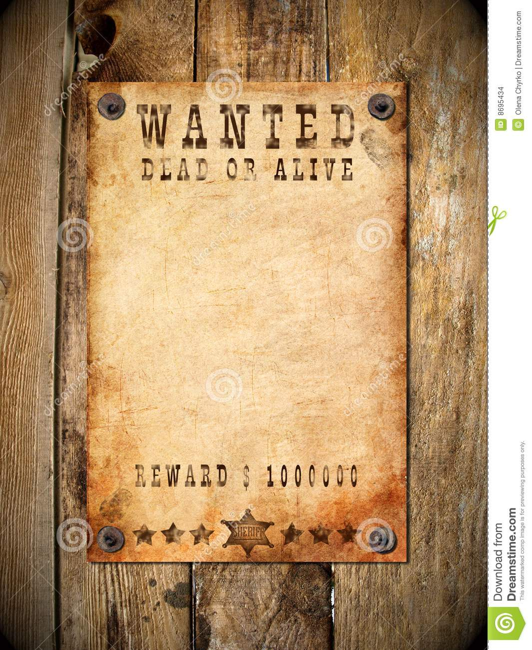 vintage wanted poster stock images image 8695434