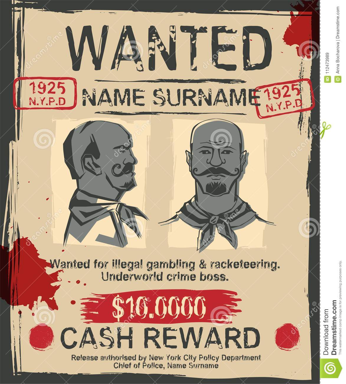 Vintage Wanted Poster With Hand Drawn Grunge Lettering Stamp Words Made From Unique Letters Beautiful Vector Illustration Editable Graphic Element In