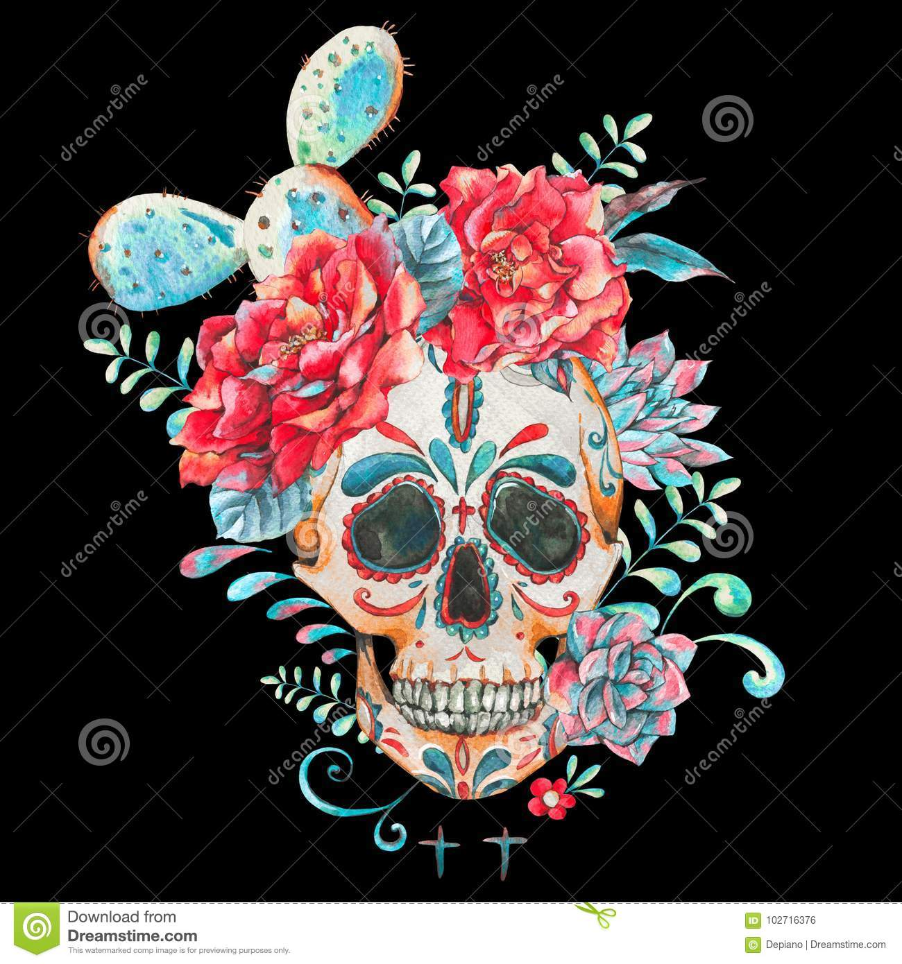 Watercolor Card With Skull And Roses Stock Illustration