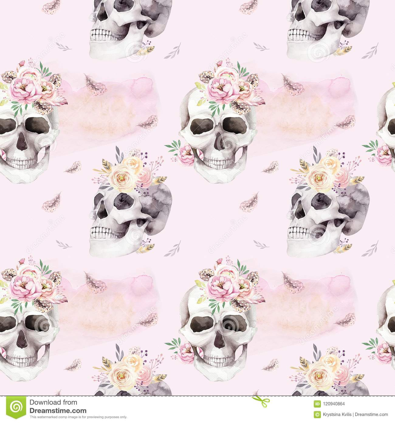 Vintage Watercolor Patterns With Skull And Roses Wildflowers