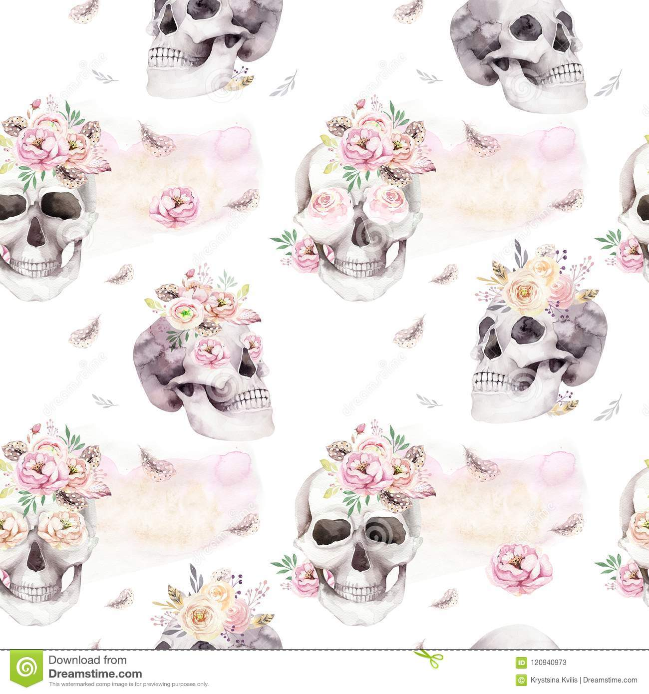 Vintage Watercolor Patterns With Skull And Roses