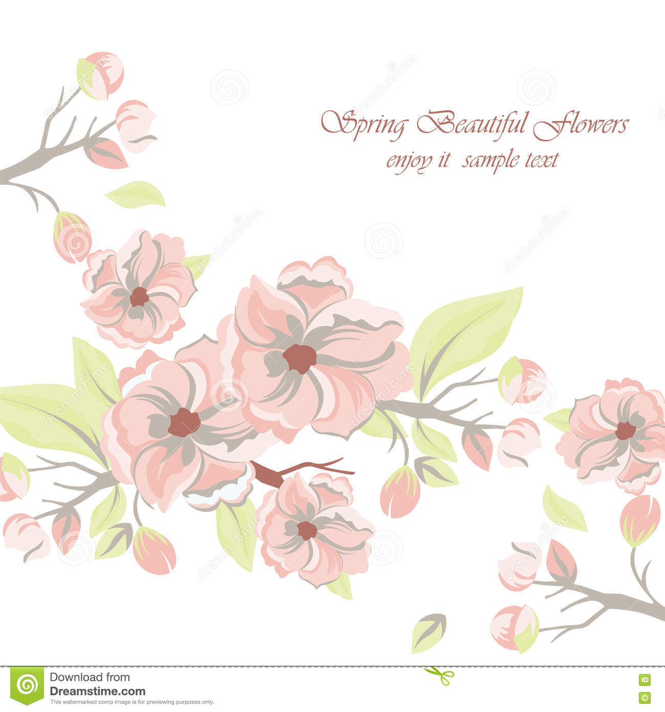 Vintage Watercolor Spring Flowers Background Stock Vector