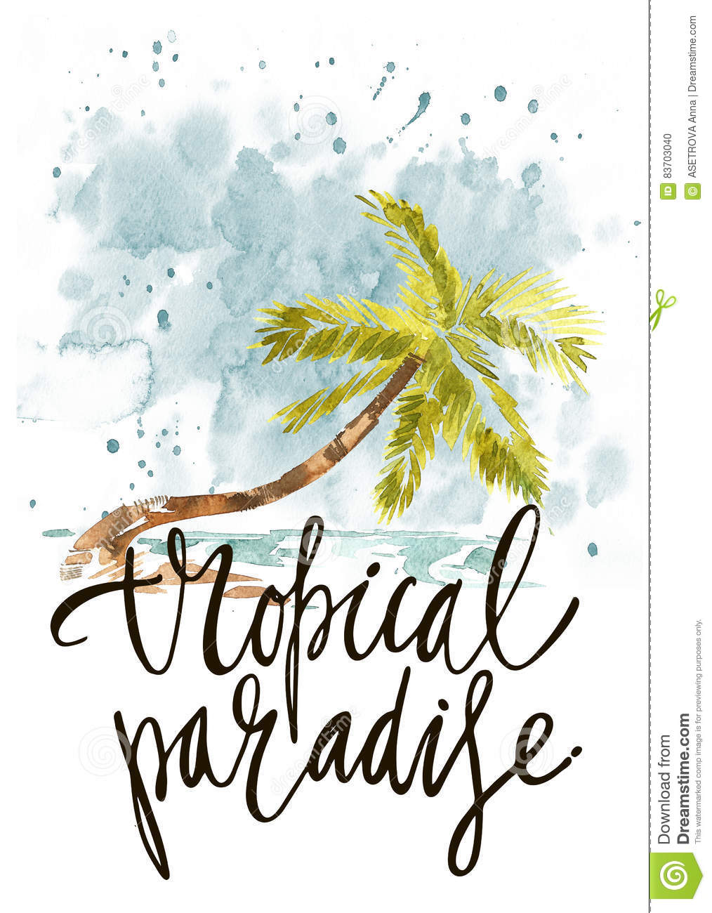 Vintage Watercolor Summer Tropical Paradise With Typography Design, Trees And Lettering.  Set, Fashion , T-shirt . Stock Illustration