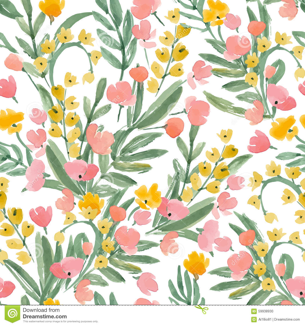 Vintage Watercolor Wallpaper Of Hand Drawn Flowers And