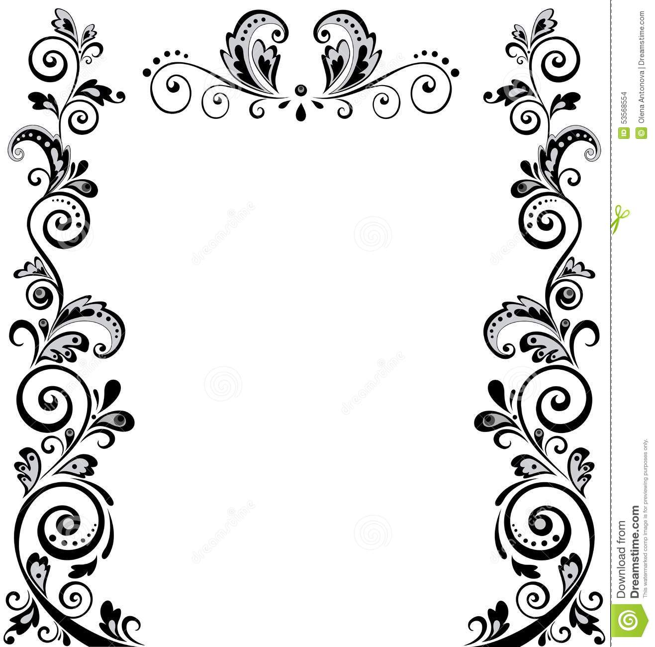 Vintage Wedding Floral Border Black And White