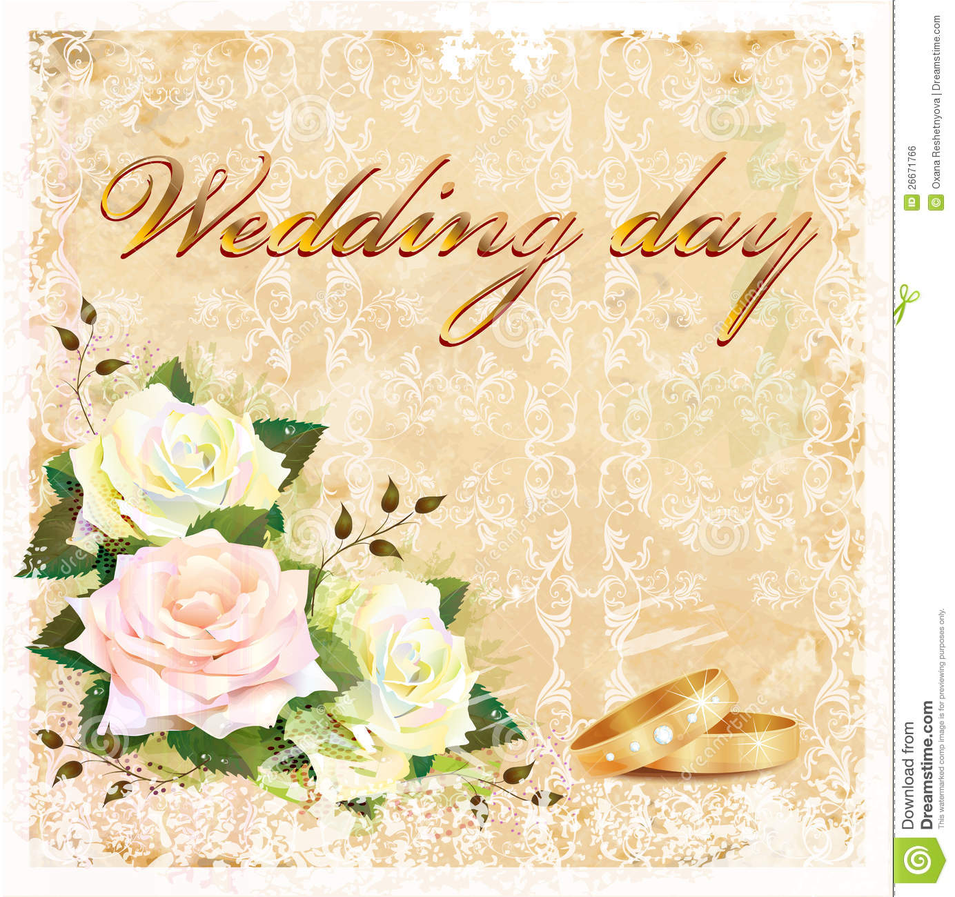 Vintage Wedding Card Royalty Free Stock Image - Image: 26671766