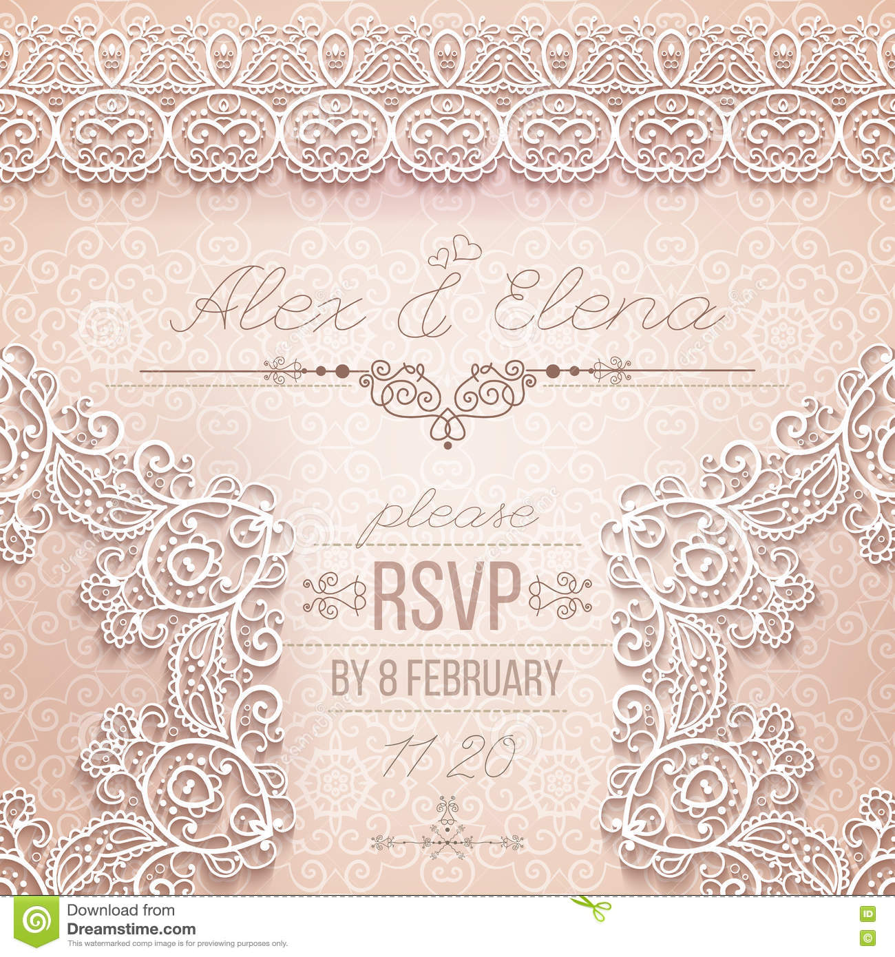 d6439c303c Vintage Wedding card or invitation with abstract lace seamless background  and borders. vector. More similar stock illustrations