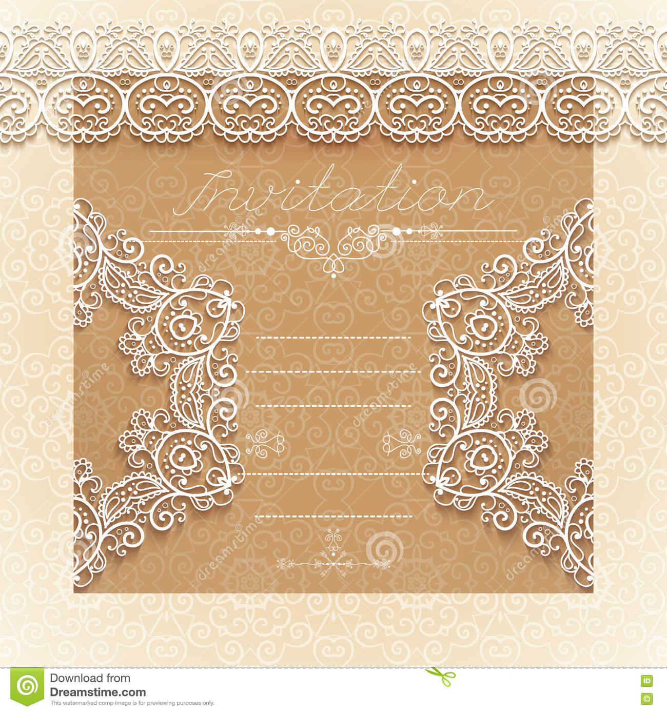 vintage wedding card or invitation with abstract lace seamless background and borders vector stock vector illustration of anniversary background 74417725 dreamstime com