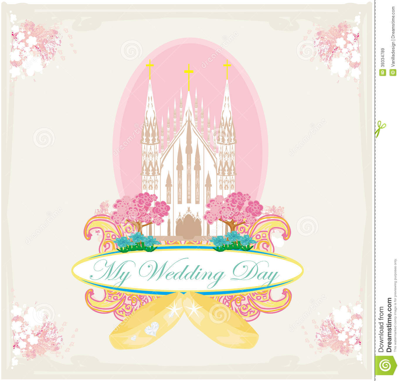 Vintage wedding card with rings and Catholic Church