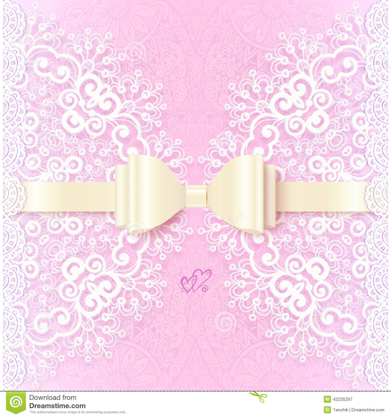 Vintage Wedding Card Template With White Bow Stock Vector - Image ...