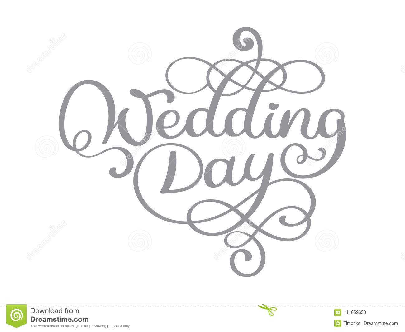Vintage wedding day vector text on white background hand lettering vintage wedding day vector text on white background hand lettering typography poster for posters greeting cards home kristyandbryce Images
