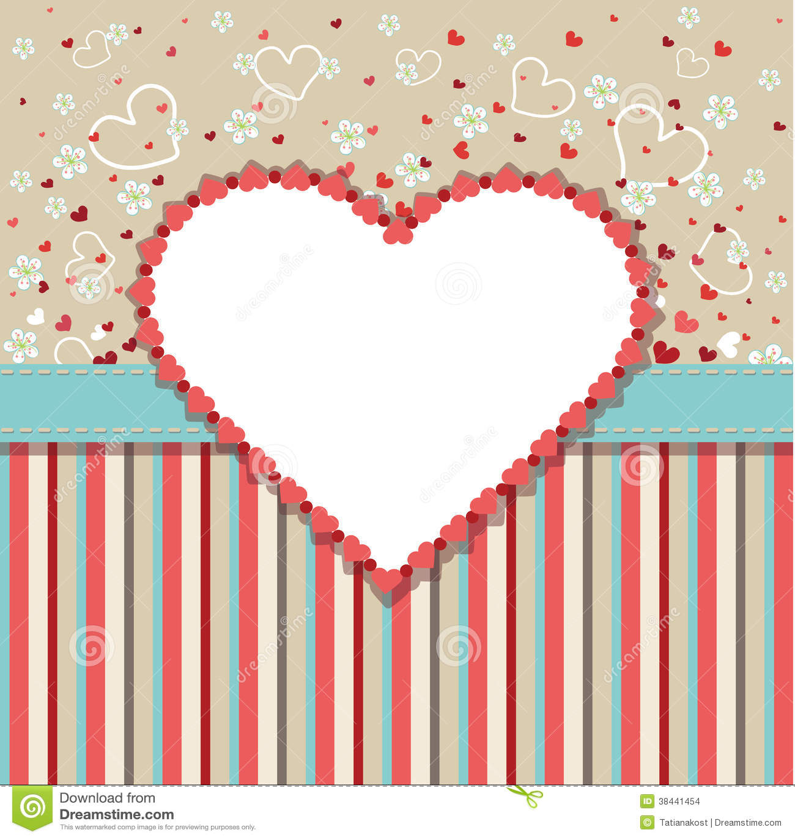 vintage wedding design template with hearts flower illustration