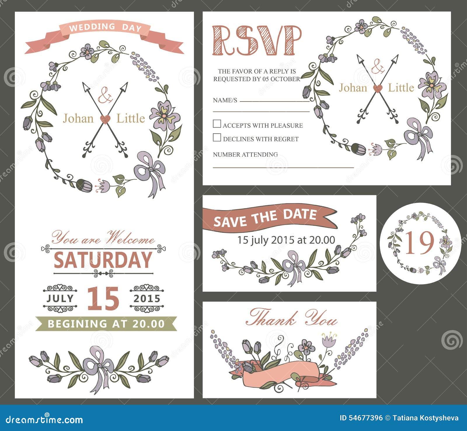 vintage wedding design template set with flowers stock vector image 54677396. Black Bedroom Furniture Sets. Home Design Ideas