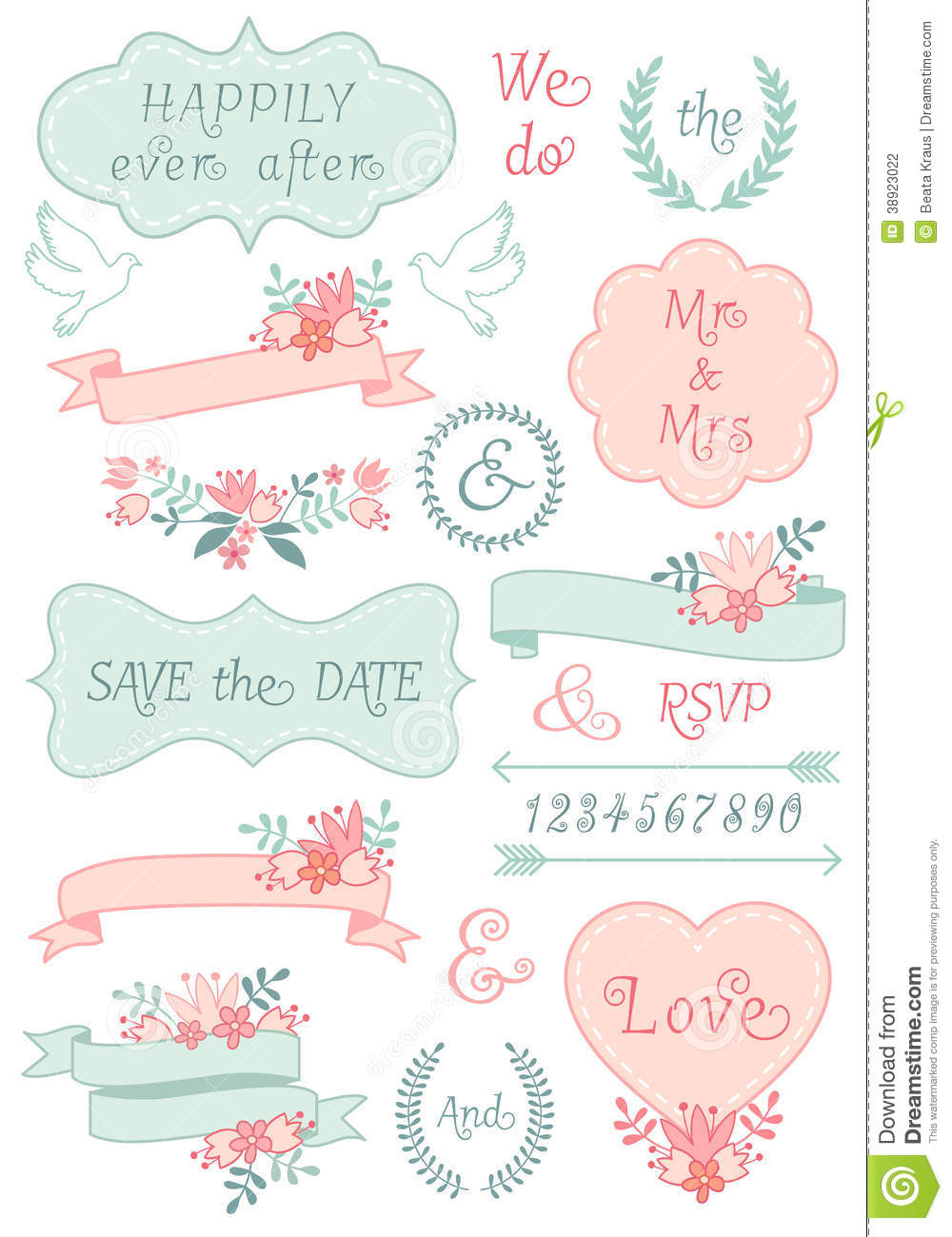 Vintage Wedding Frames And Ribbons, Vector Set Stock Vector - Image