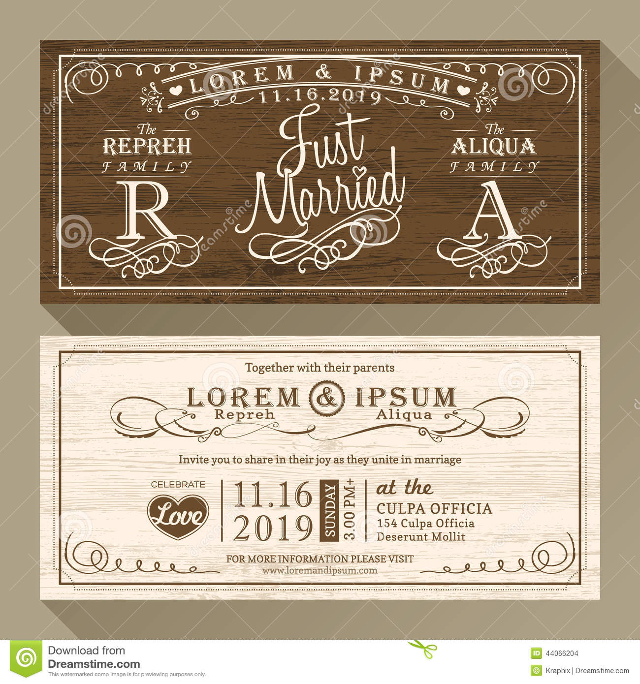 Vintage Wedding Invitation Border And Frame Template Stock Vector ...