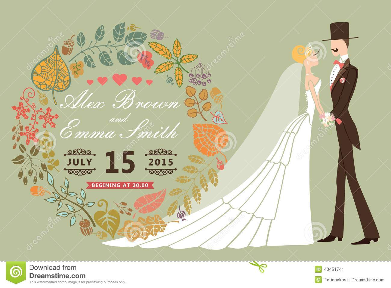 Vintage Wedding Invitation With Bridegroomautumn Leaves Wreath Royalty Free Illustration