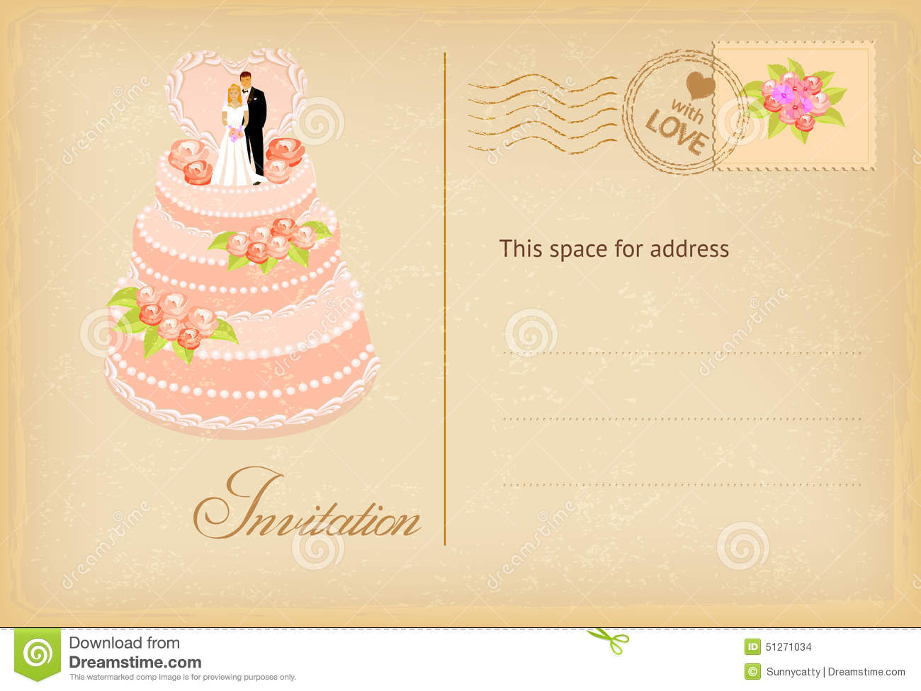 Vintage Wedding Invitation Card Stock Vector - Illustration of ...