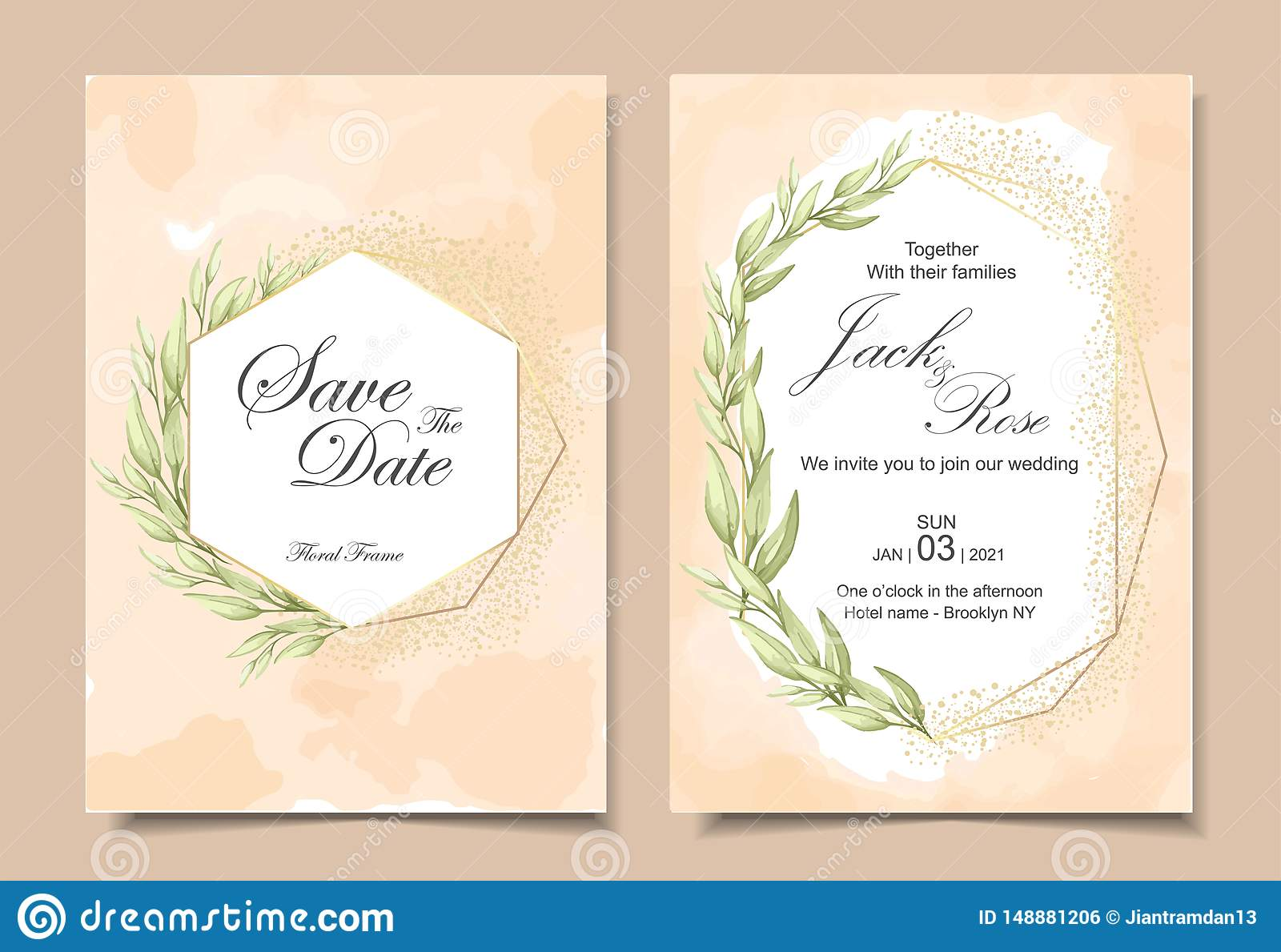 Vintage Wedding Invitation Cards wih Watercolor Background Texture, Geometric Golden Frame, and Watercolor Hand Drawing Leaves.