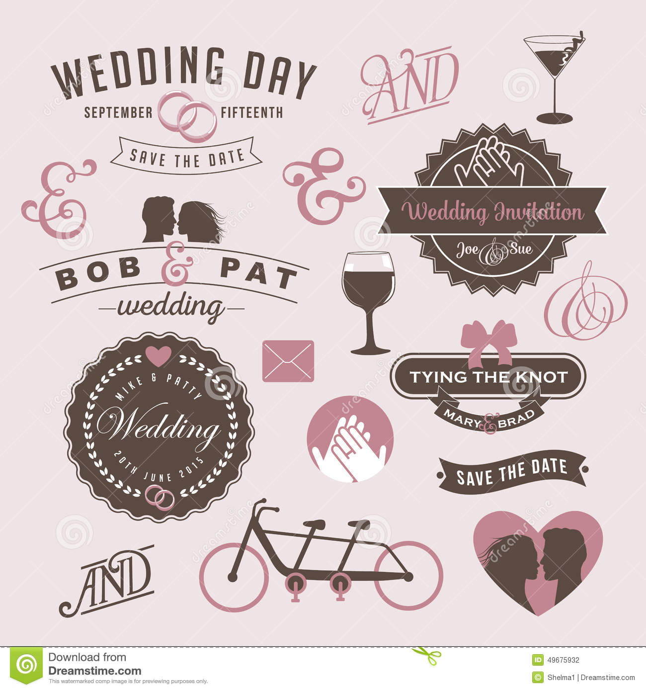 Wedding Graphics: Vintage Wedding Invitation Design Graphic Elements Stock