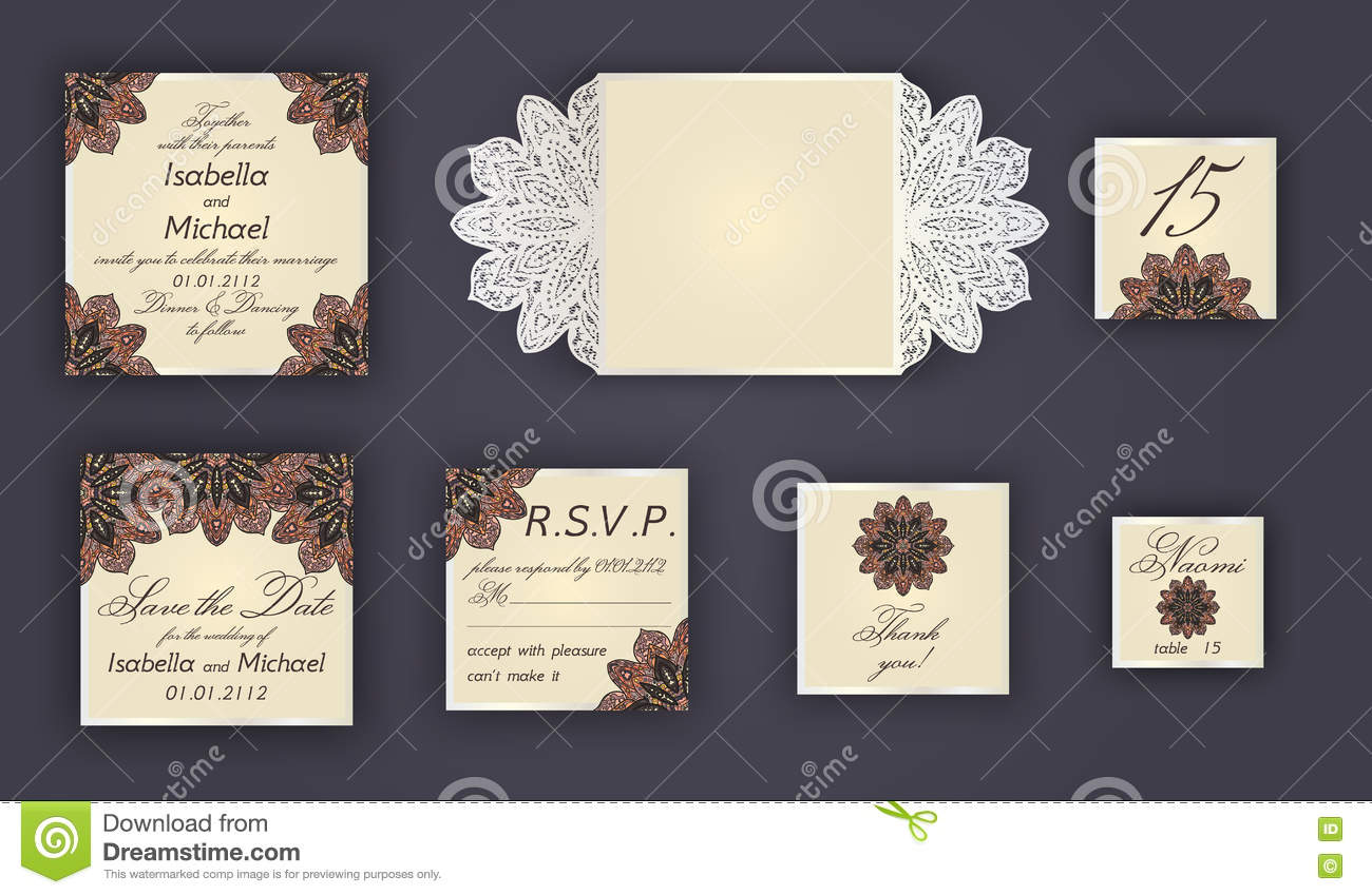 Vintage Wedding Invitation Design Set Include Card Save The Date RSVP Thank You Table Number Place Cards