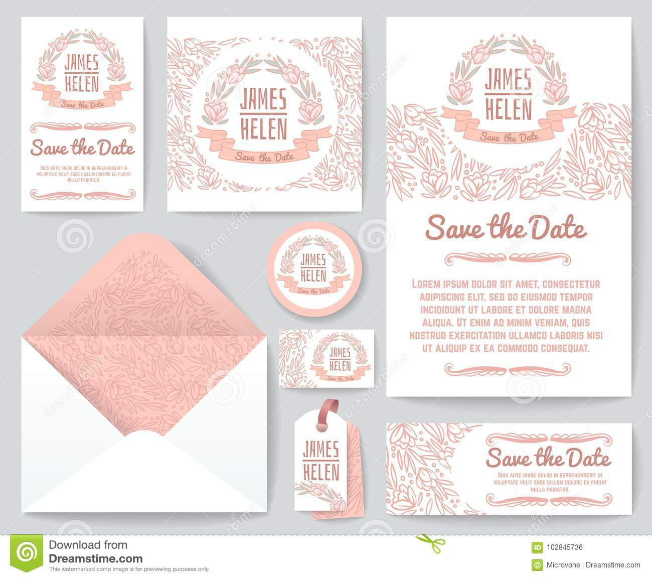 Vintage Wedding Invitation Greeting Cards Vector Template With Hand
