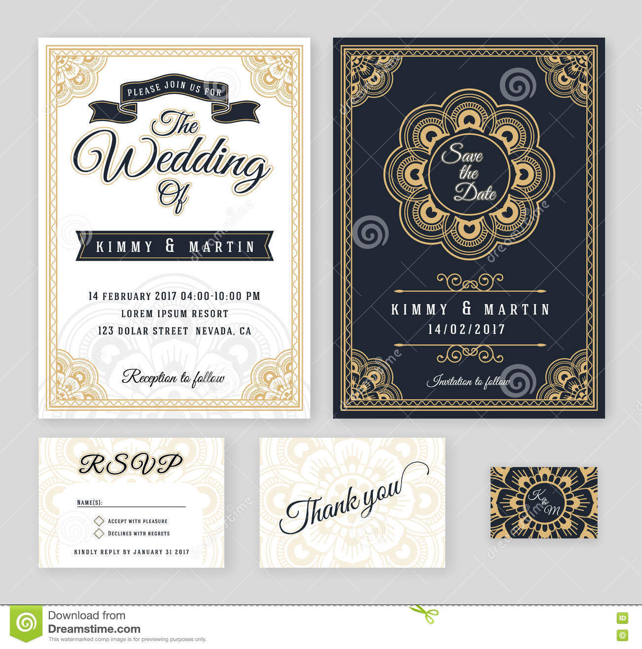 Vintage Wedding Invitation Mehndi Mandala Design Stock Vector ...