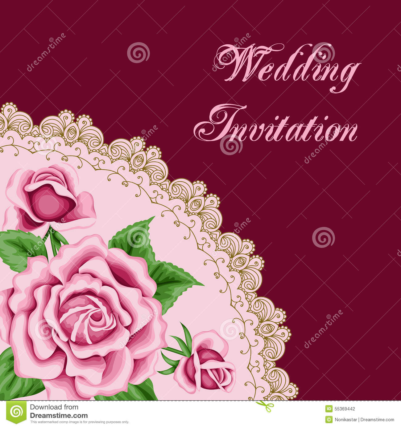 Vintage Wedding Invitation With Roses Stock Vector - Illustration of ...