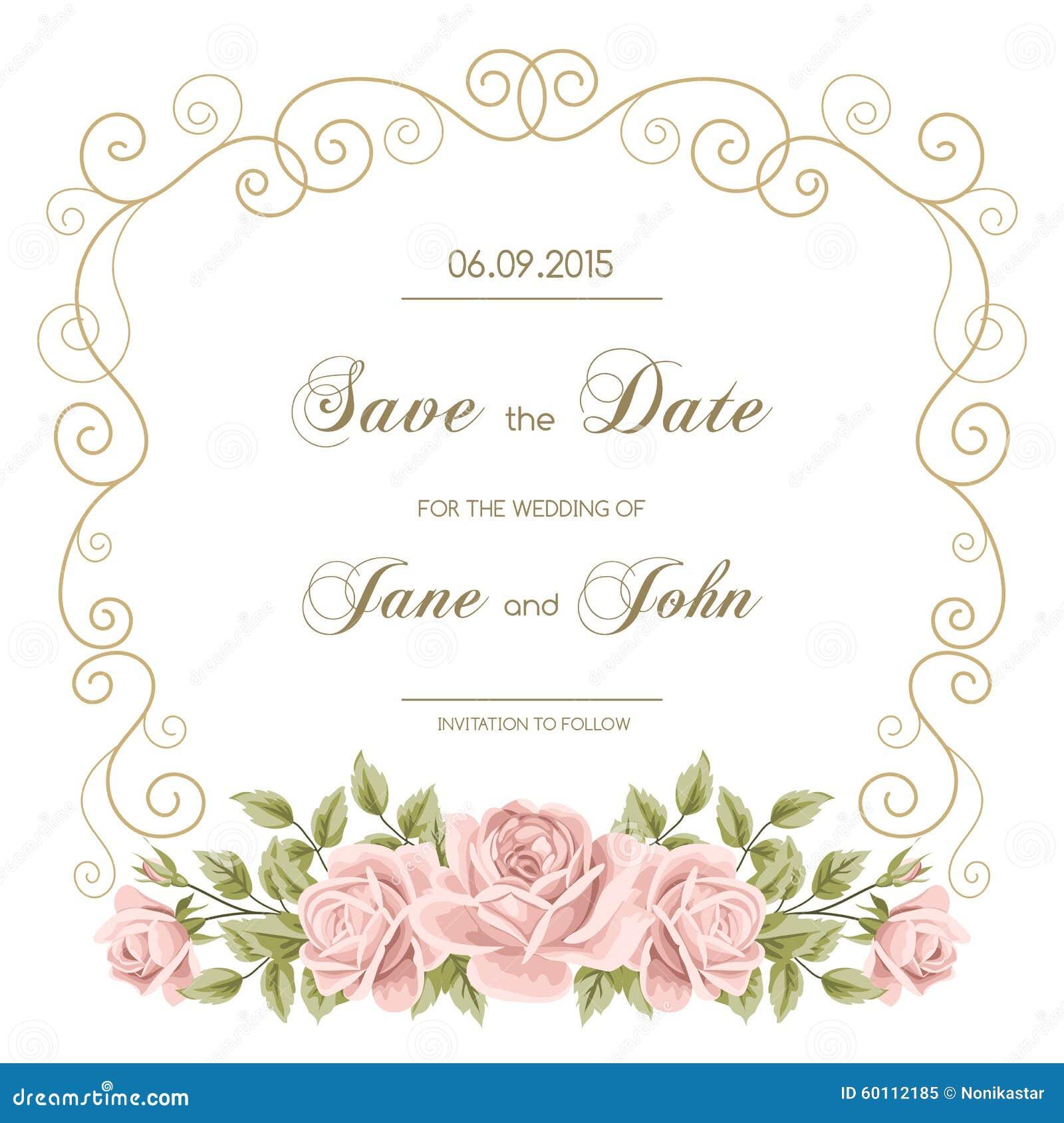 vintage wedding invitation with roses stock vector image 60112185. Black Bedroom Furniture Sets. Home Design Ideas