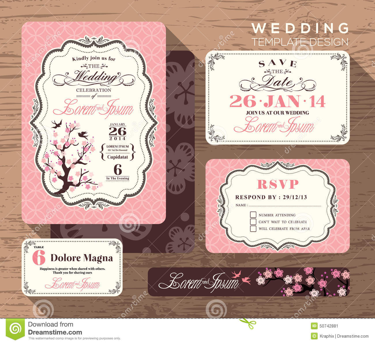 Vintage Wedding Invitation Set Design Template Stock Photo - Image ...