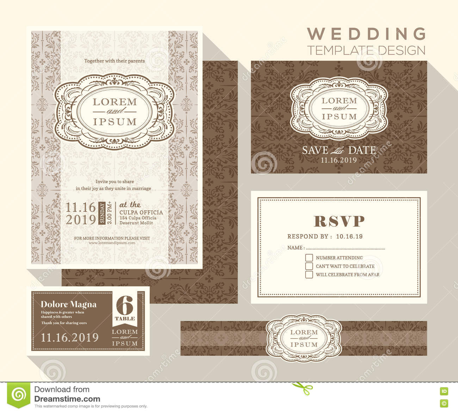 vintage wedding invitation set design template cartoon vector 50742881. Black Bedroom Furniture Sets. Home Design Ideas