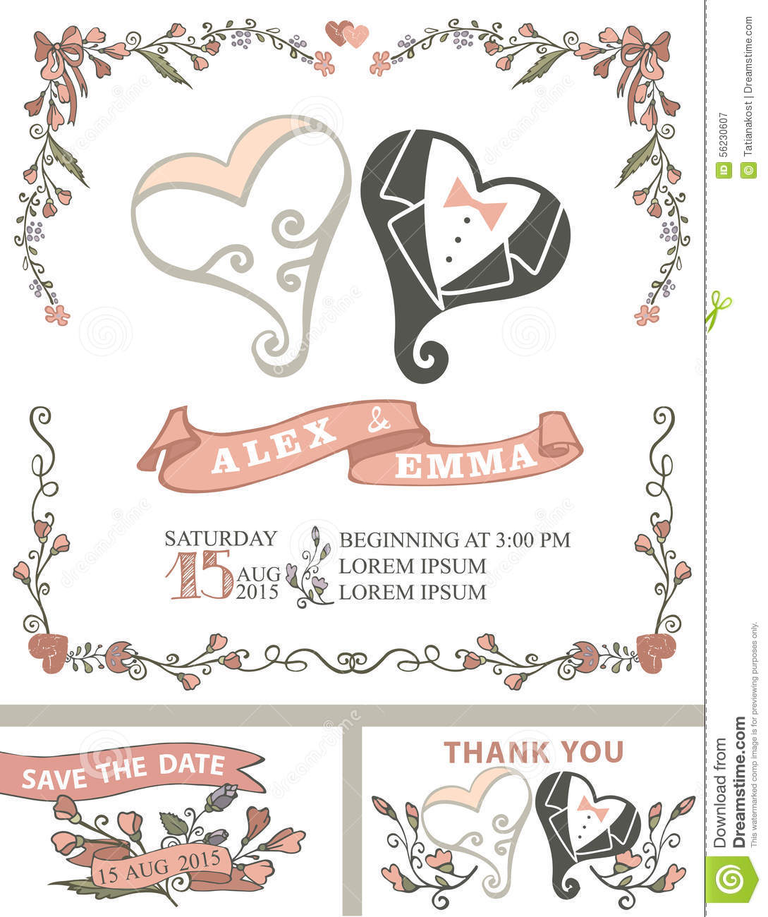 Vintage Wedding Invitation Set Stylized Hearts Stock Vector
