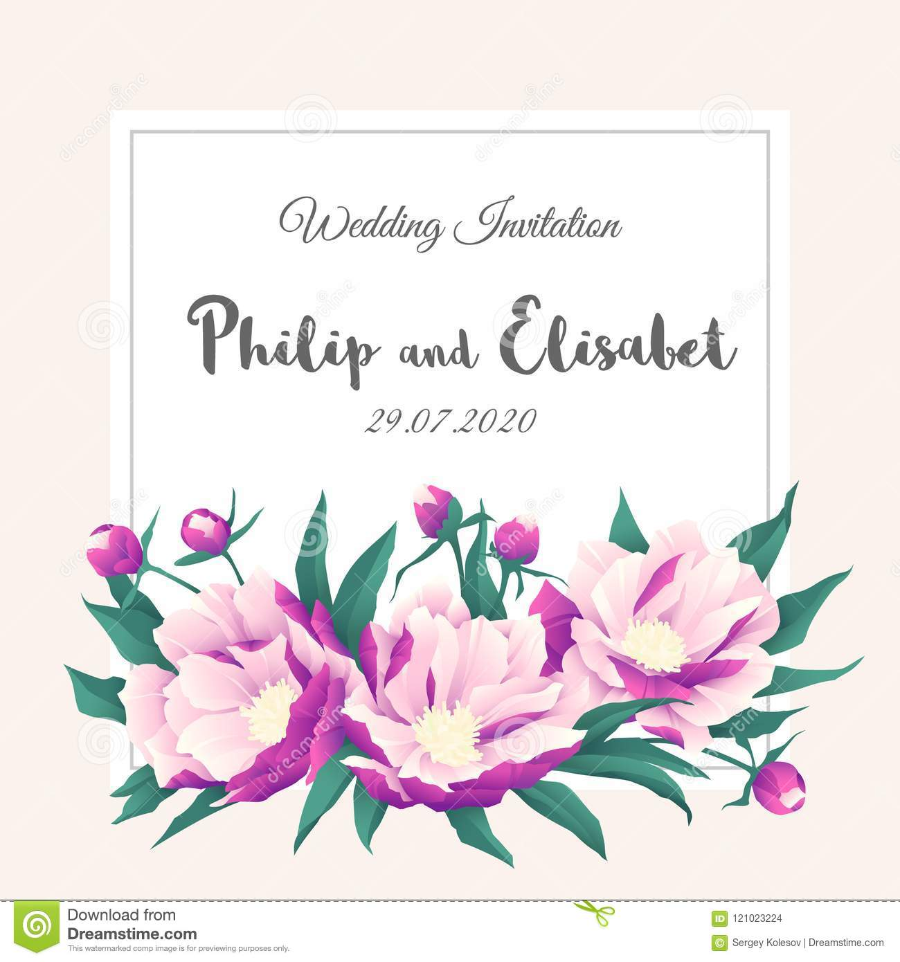 Vintage Wedding Invitation Template With Peonies Stock Vector