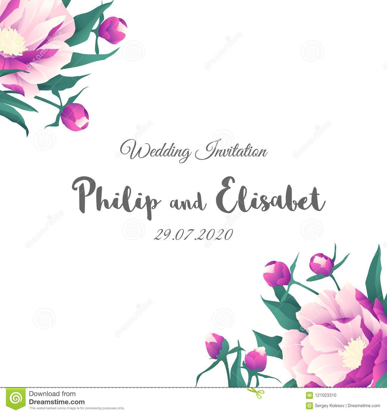 Vintage Wedding Invitation Template With Peonies Stock Vector ...