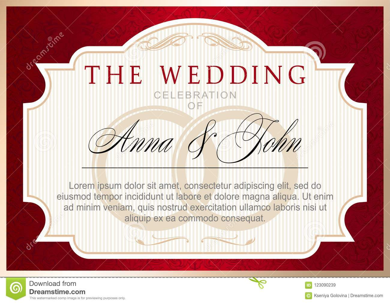 Vintage Wedding Invitation Template, Ruby Red With Gold Stock Vector ...