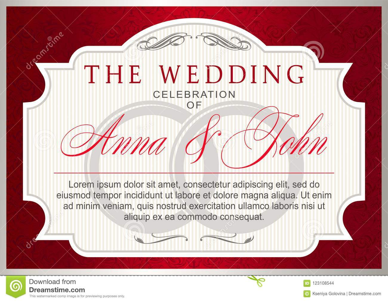 Vintage Wedding Invitation Template Ruby Red With Silver Stock