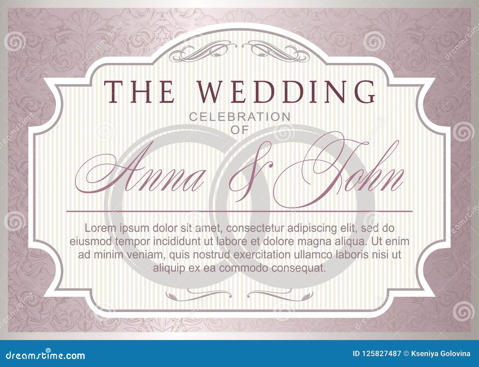 Vintage Wedding Invitation Template Stock Vector Illustration Of