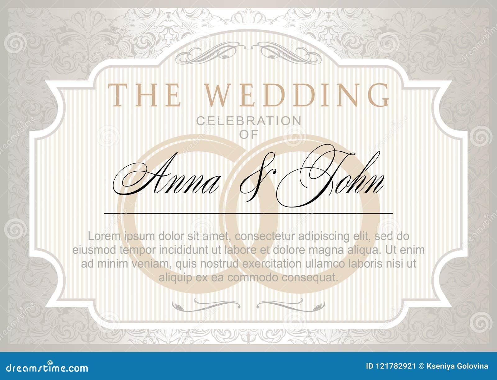 Vintage Wedding Invitation Template Stock Vector - Illustration of ...