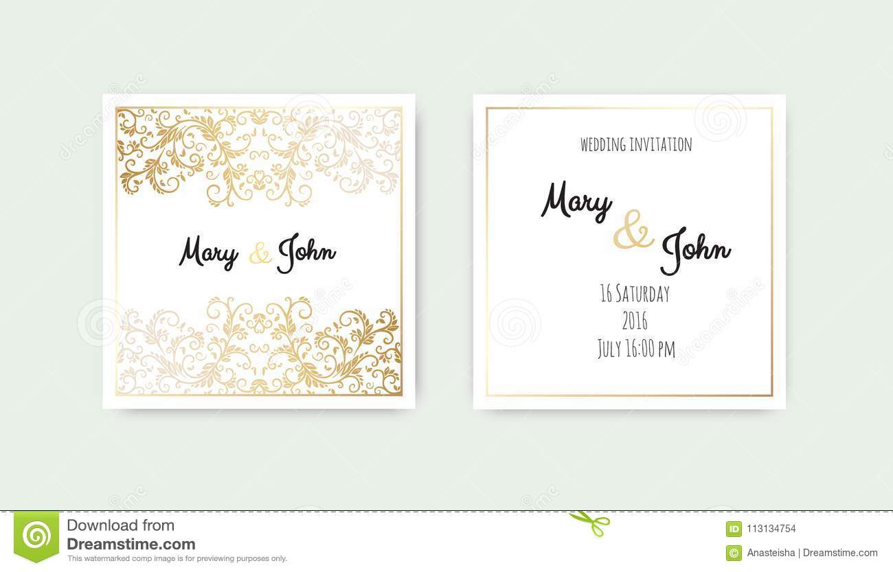 Vintage Wedding Invitation Templates Cover Design With Gold Leaves Ornaments Stock Illustration Illustration Of Background Floral 113134754