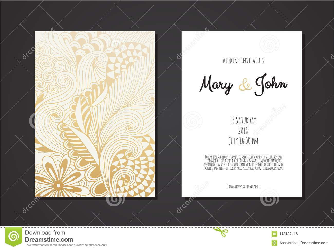 Vintage Wedding Invitation Templates Cover Design With Gold Leaves