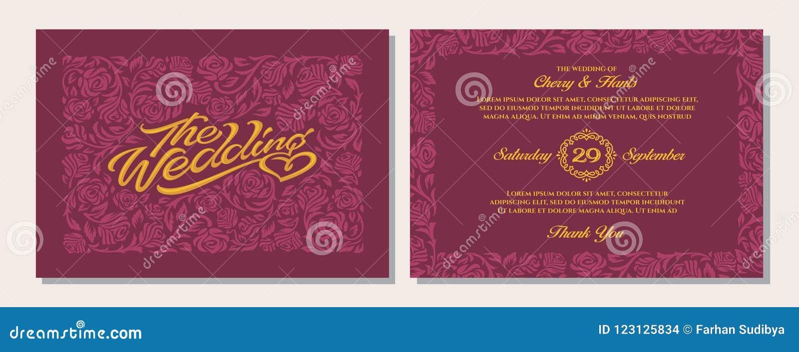 Luxury Wedding Invitation Templates Red Maroon Background