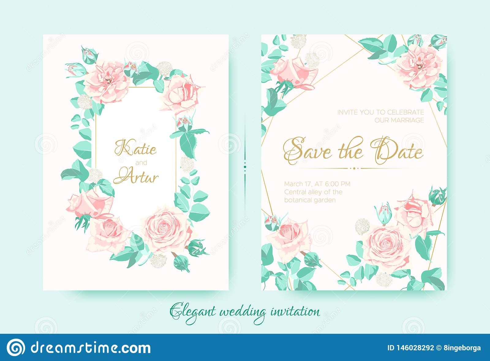 Wedding Invite with Roses Composition and Border.