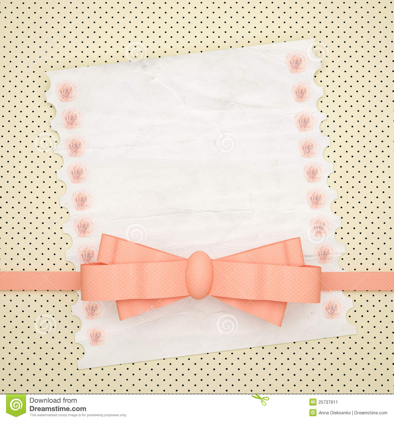Wedding Paper: Vintage Wedding Paper Background With Roses. Stock